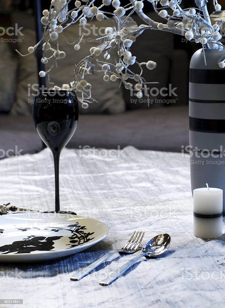 Served table for romantic dinner royalty-free stock photo