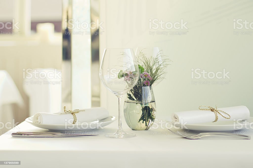 Served table for two royalty-free stock photo