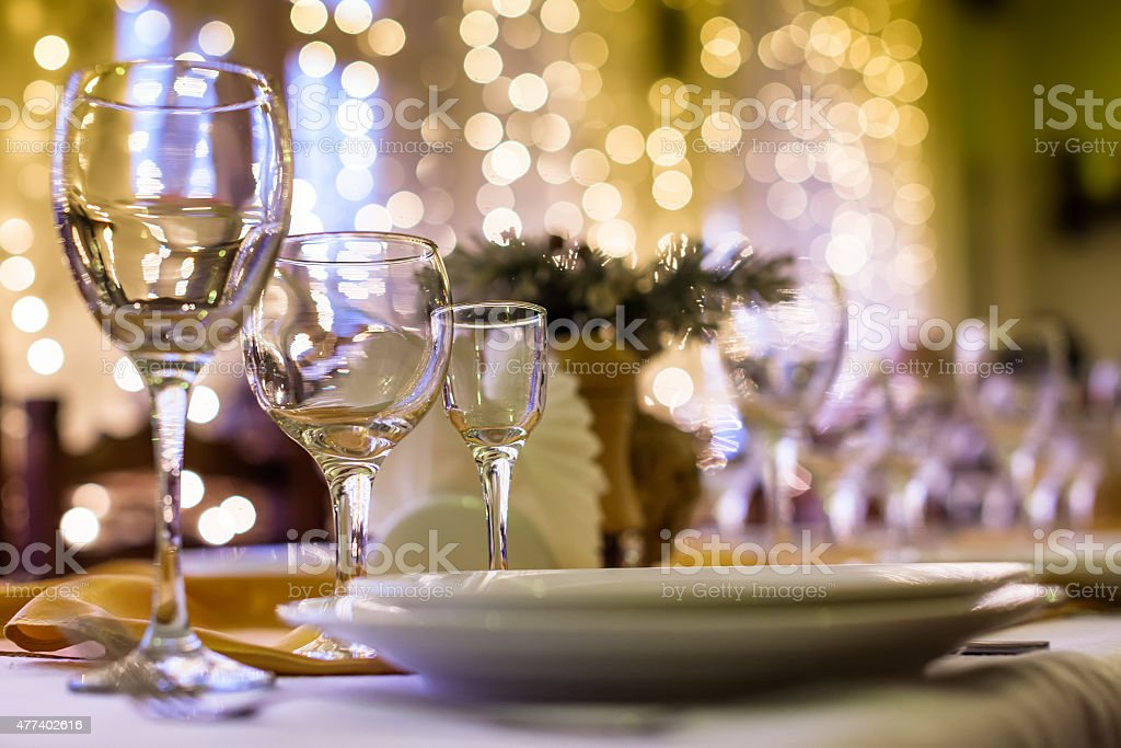 Served table in a restaurant at the holiday eve stock photo