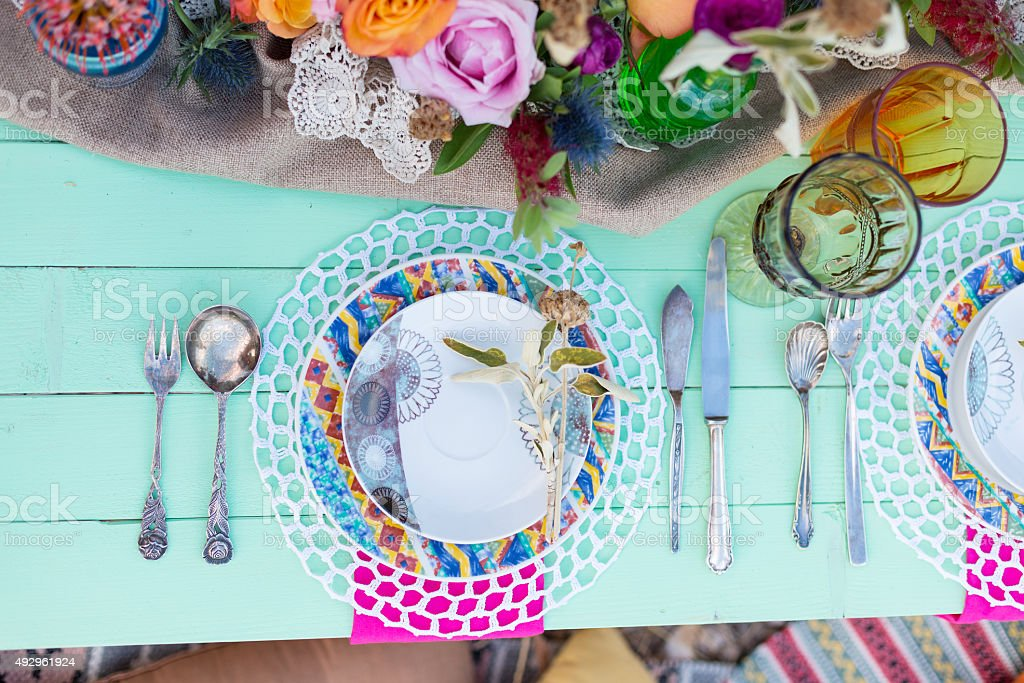 served table in boho style stock photo
