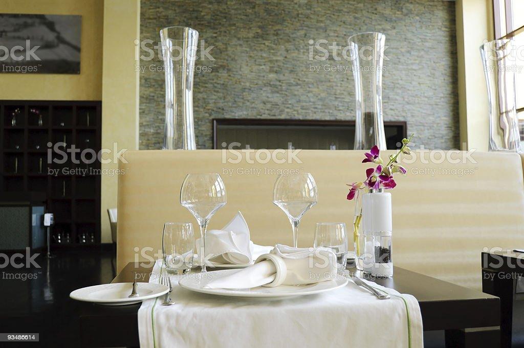 Served table in luxury restaurant, Dubai, UAE royalty-free stock photo