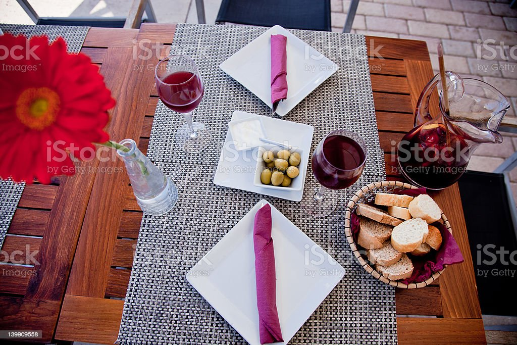 Served table in restaurant with daisy royalty-free stock photo