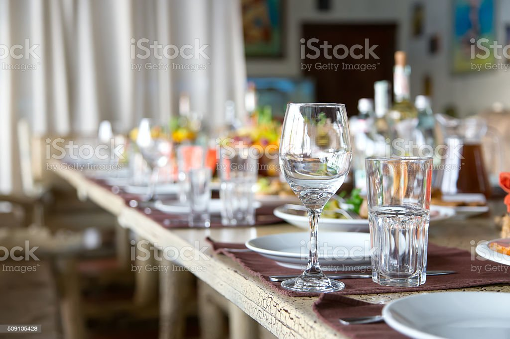 served table stock photo