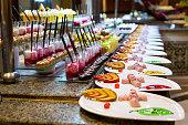 served table variety od dessert