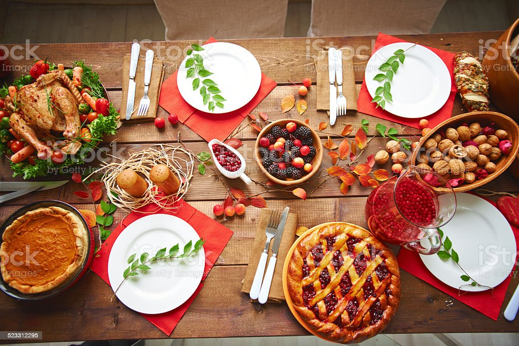 Served Thanksgiving table stock photo