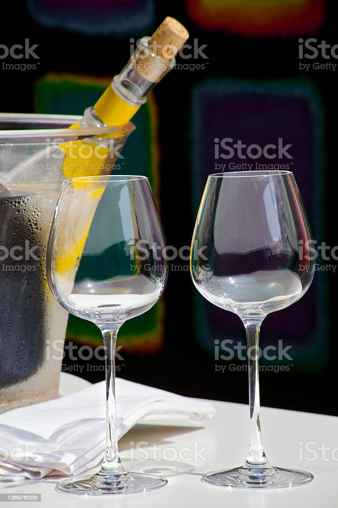 served wine with two empty glasses royalty-free stock photo