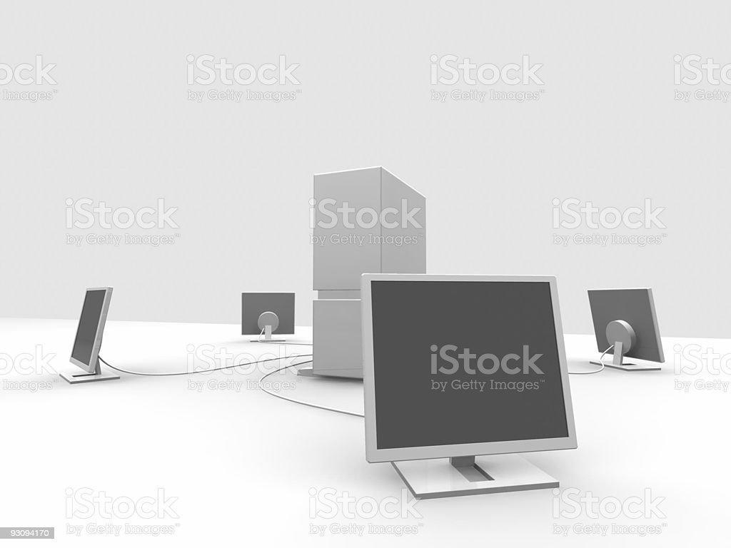 server and four monitors 1 royalty-free stock photo