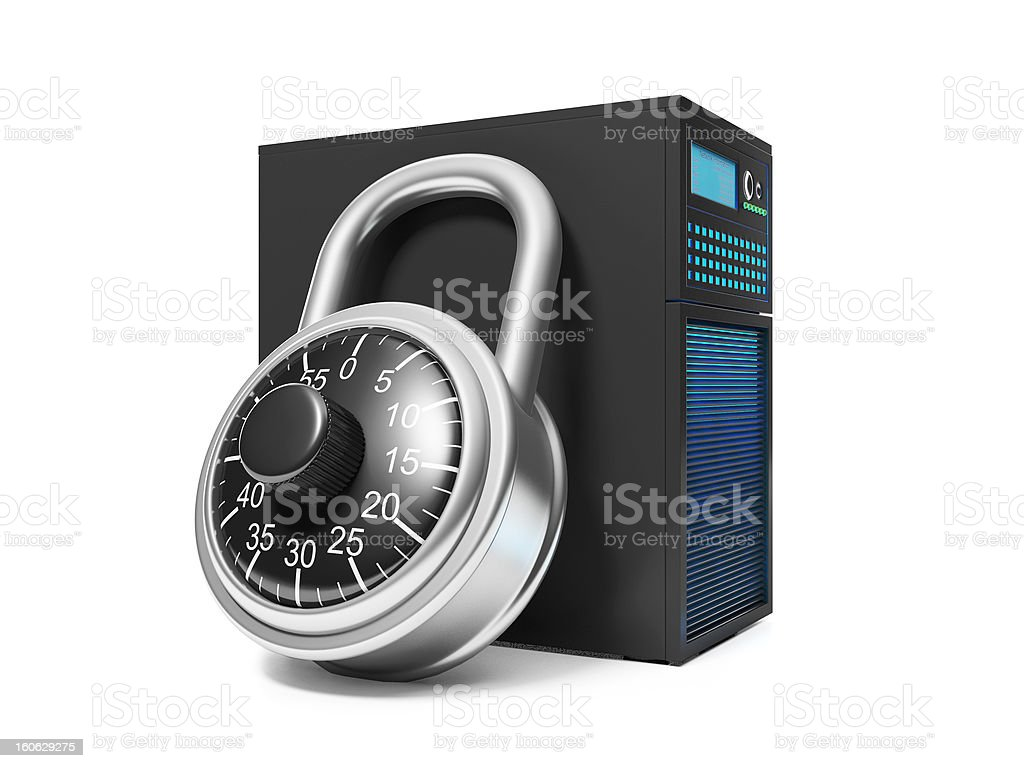 Server and security lock royalty-free stock photo