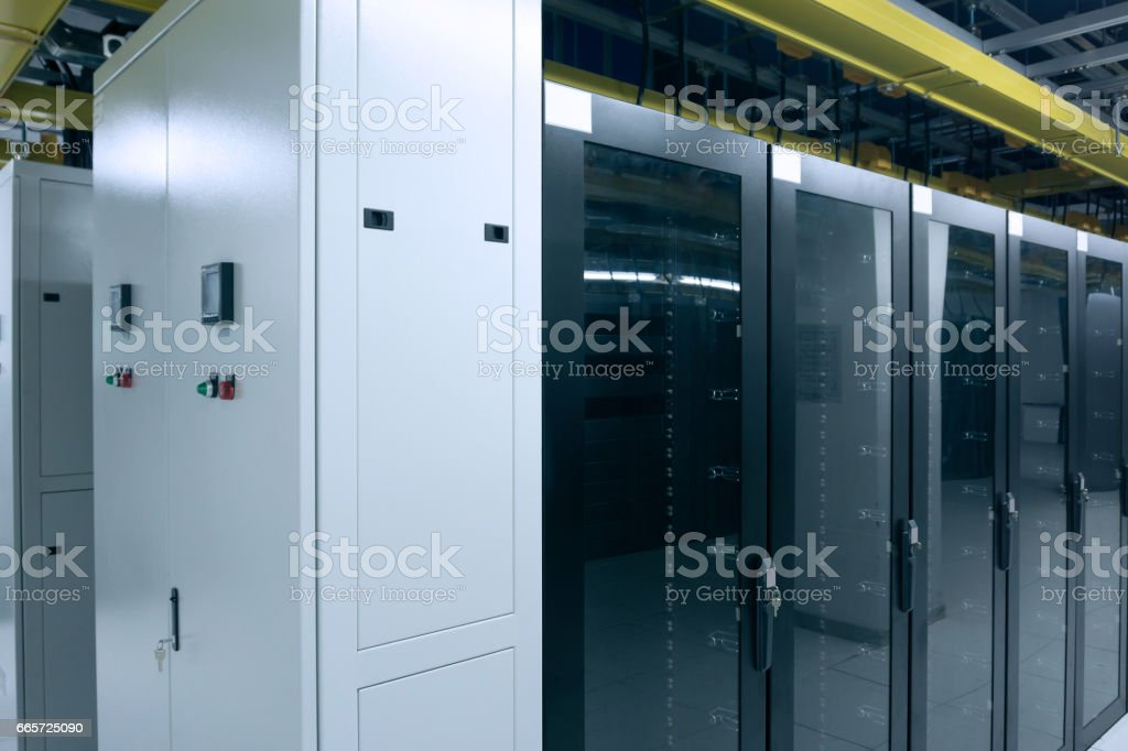 Server cabinets and power distribution box stock photo