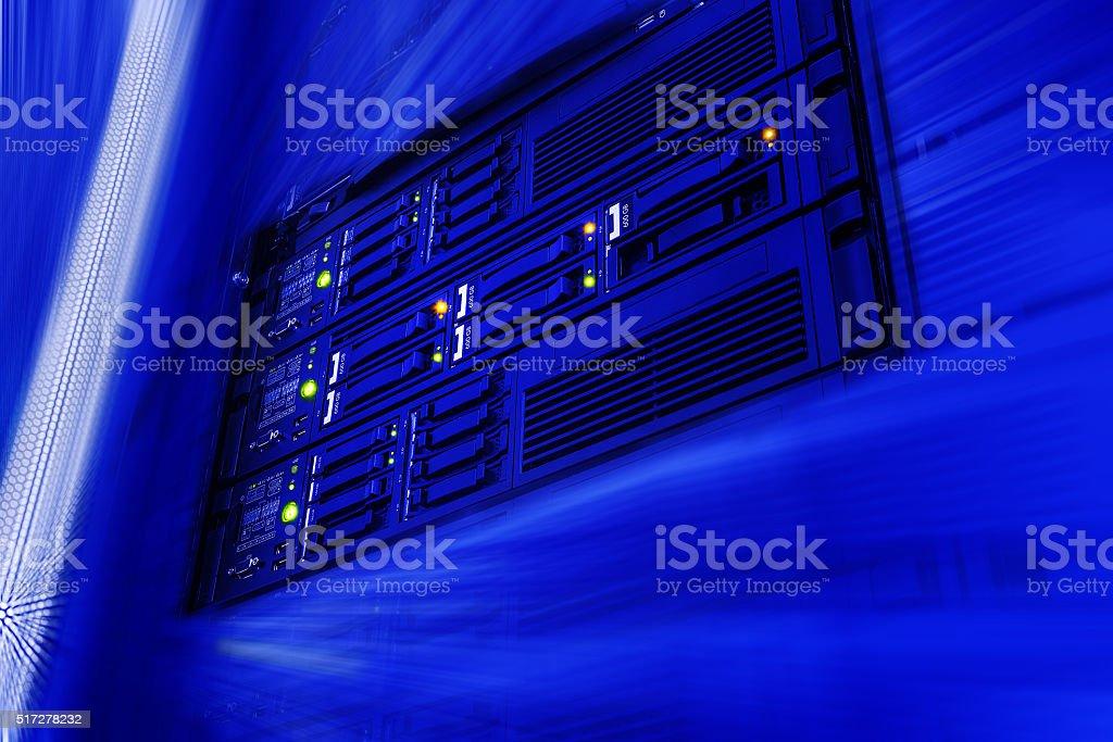 Server data warehouse data center in futuristic blur stock photo