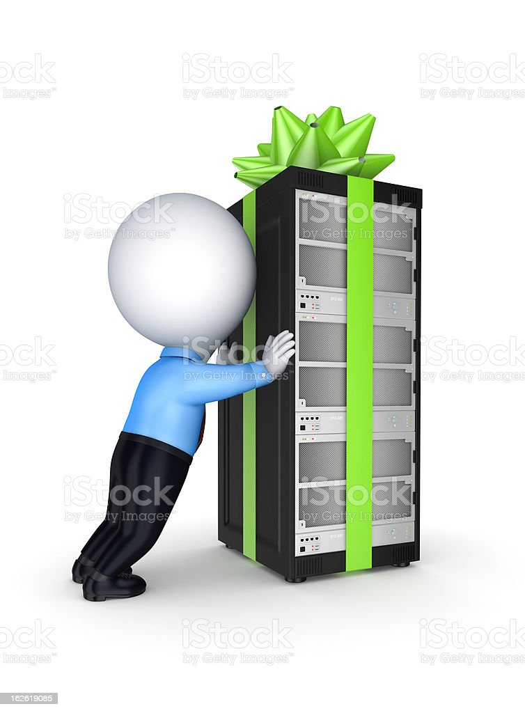Server decorated with a red bow and ribbon. stock photo