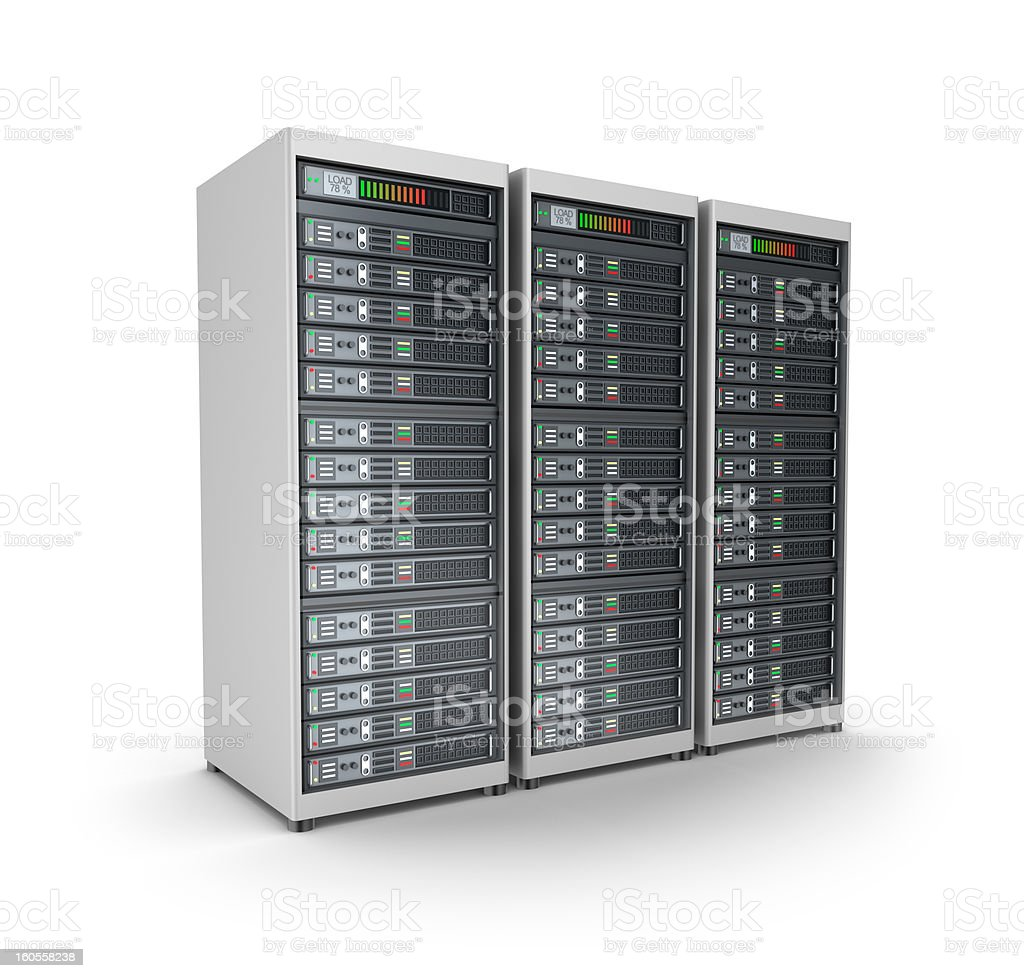 Server grid or render farm. Isolated on white. royalty-free stock photo
