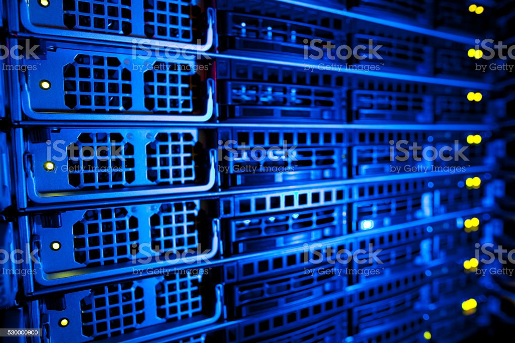 Server rack cluster in a data center stock photo