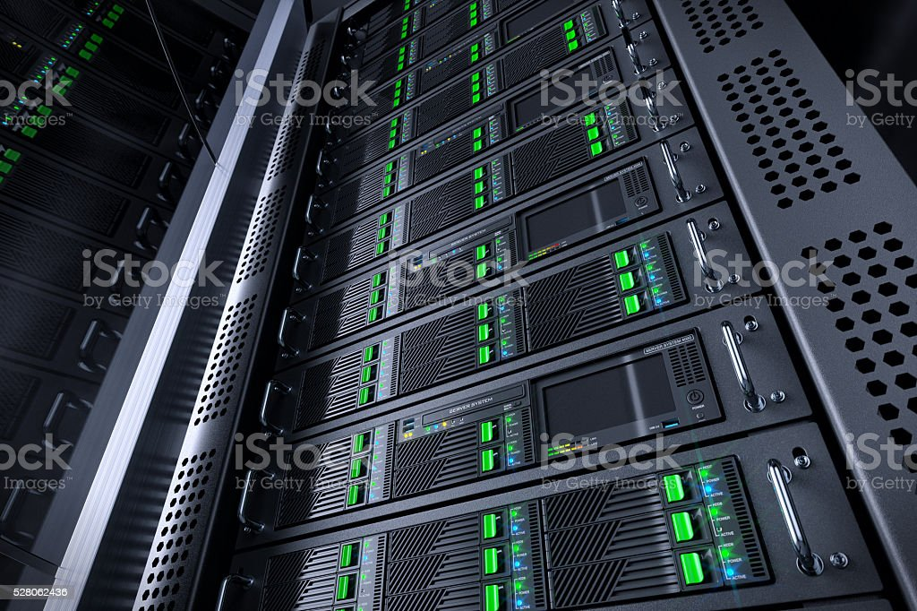 Server rack database. Telecommunication equipment. stock photo