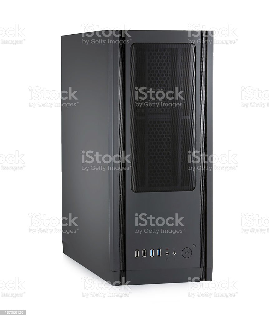 Server rack isolated on white background stock photo