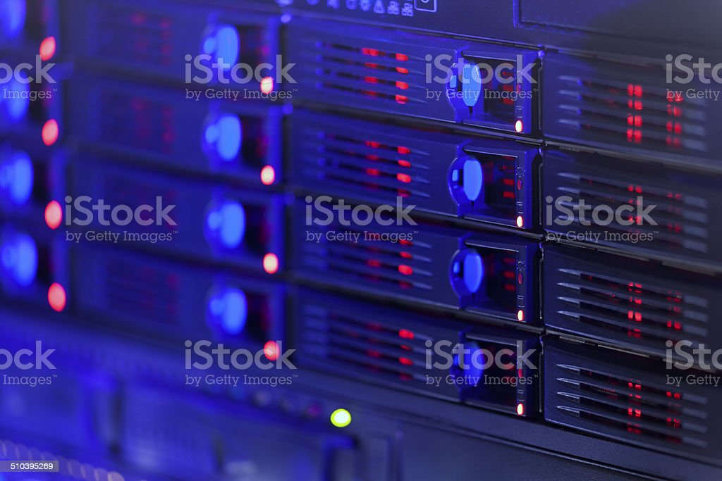 Server rack toned in blue color stock photo