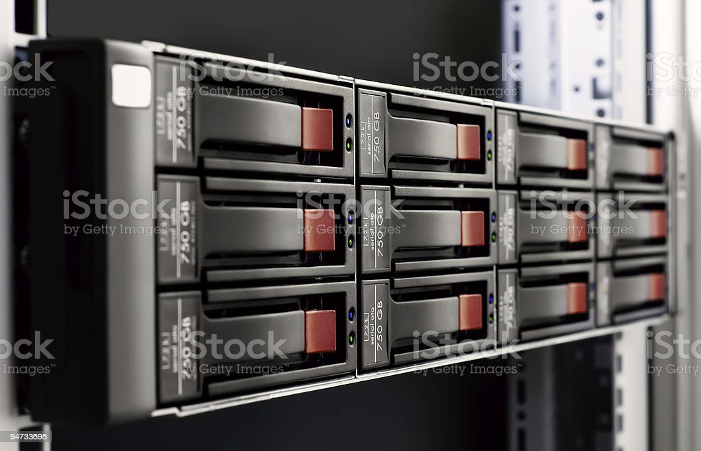 Server rack-mounted royalty-free stock photo