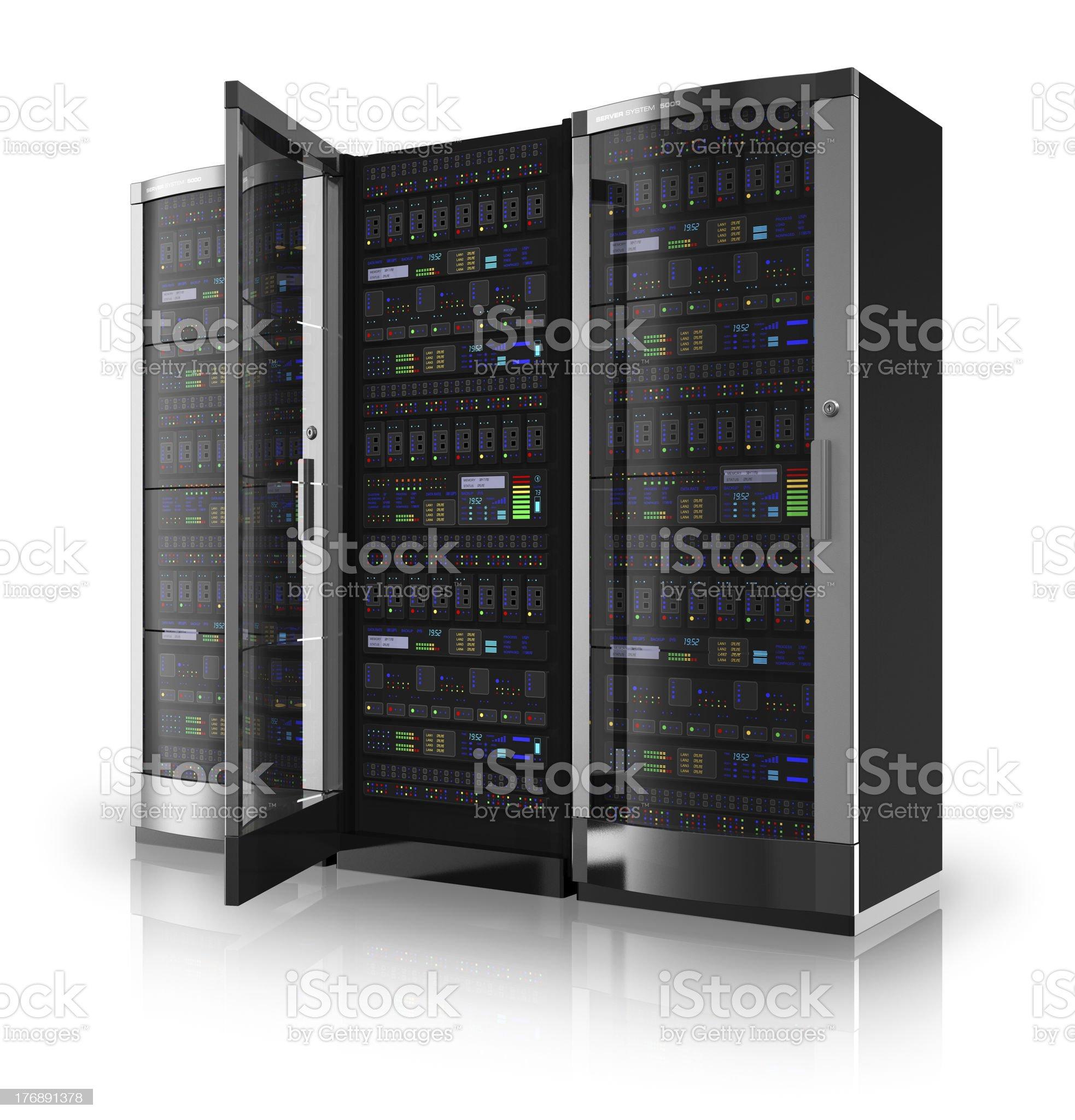 Server racks with open door royalty-free stock photo