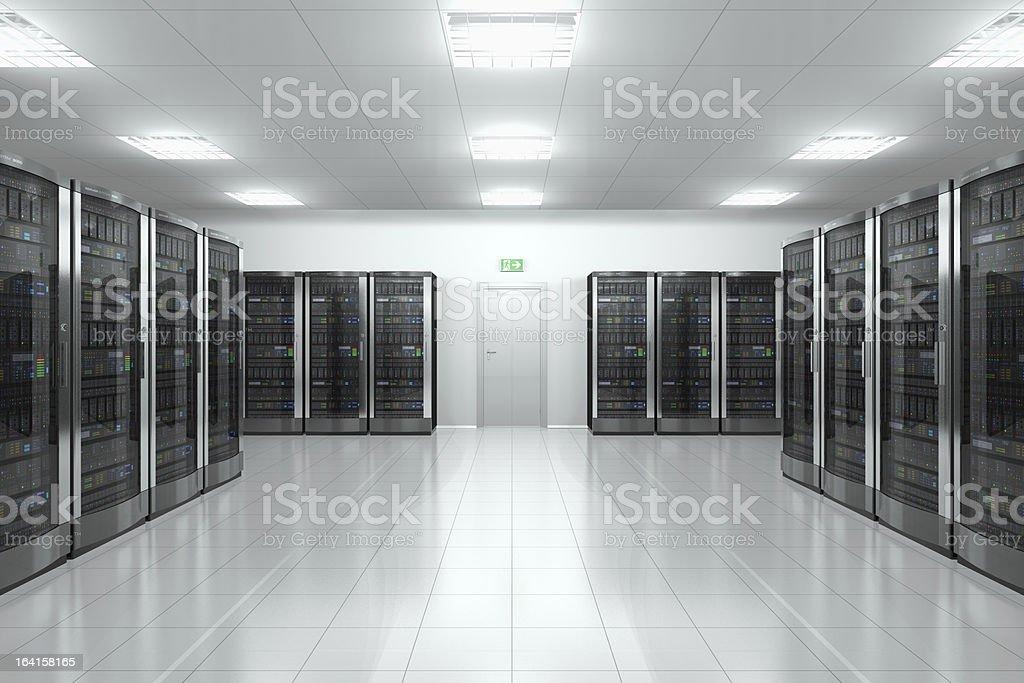 Server room in datacenter stock photo