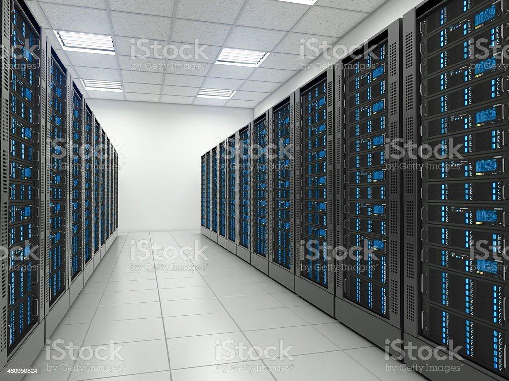 Server room in datacenter. stock photo
