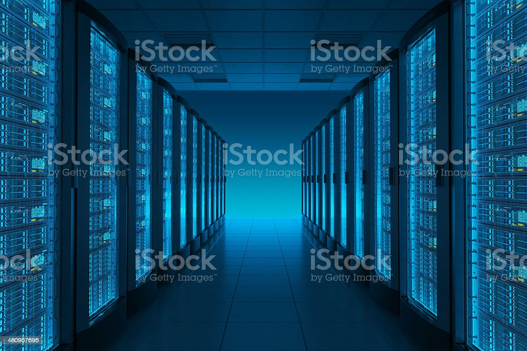 Server room in datacenter. stock photo