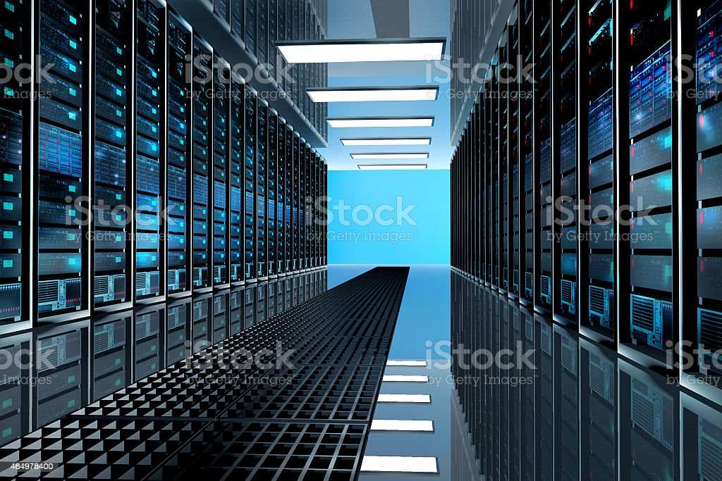 server room in datacenter,equipped with data servers stock photo