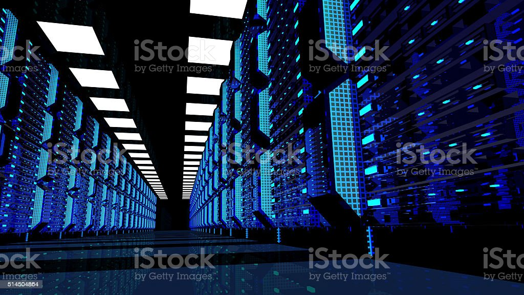 Server room interior in data center stock photo