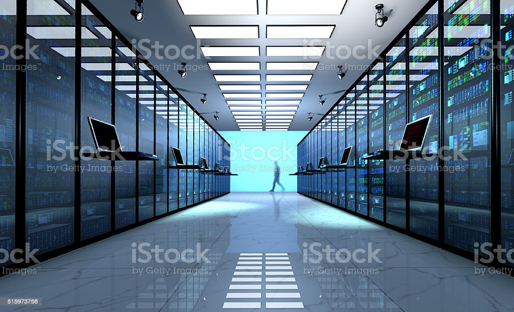 Server room interior in datacenter stock photo