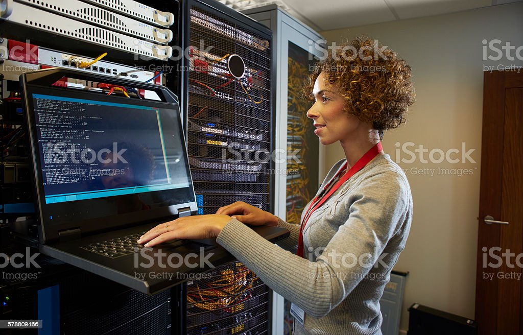 server room IT programmer. stock photo
