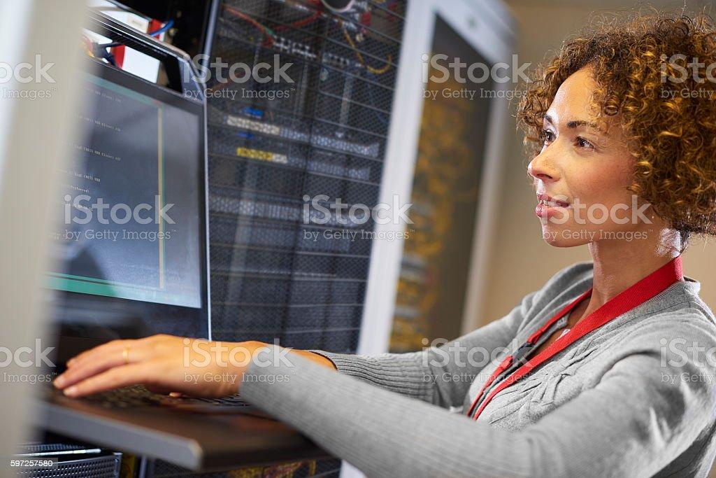server room IT programmer. stock photo