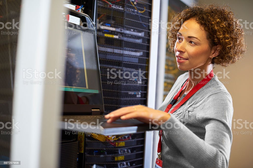 server room IT programmer stock photo