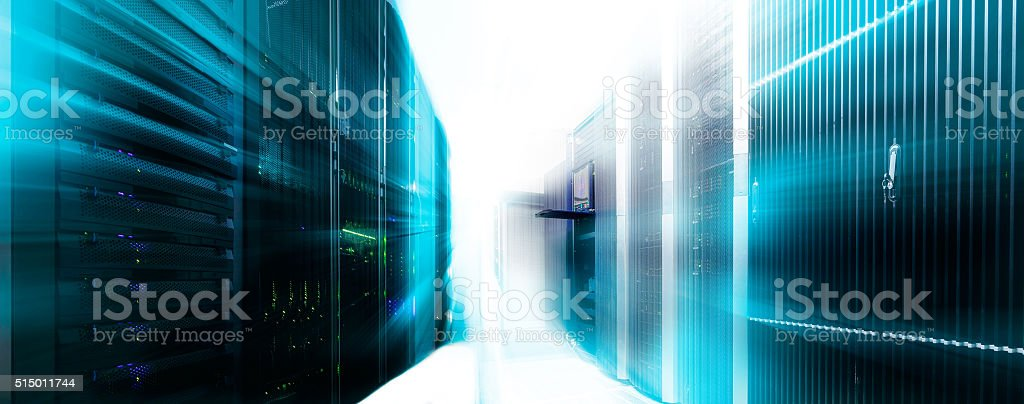 server room panorama data center with  light and blur stock photo