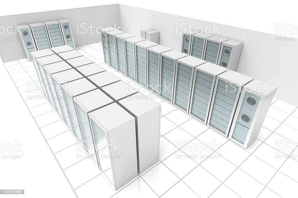 Server Room (isolated on white) stock photo