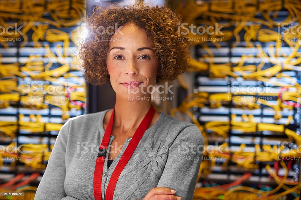 Server room technician stock photo