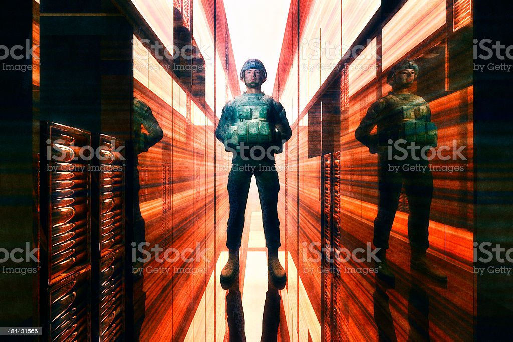 Server room with military security stock photo