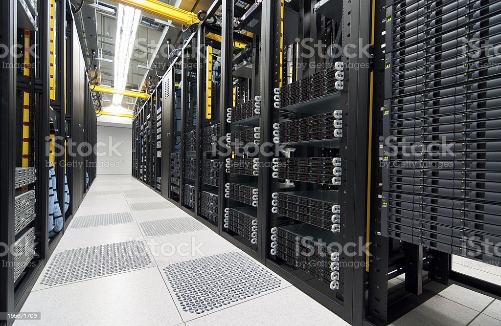 Server room with storage devices stock photo