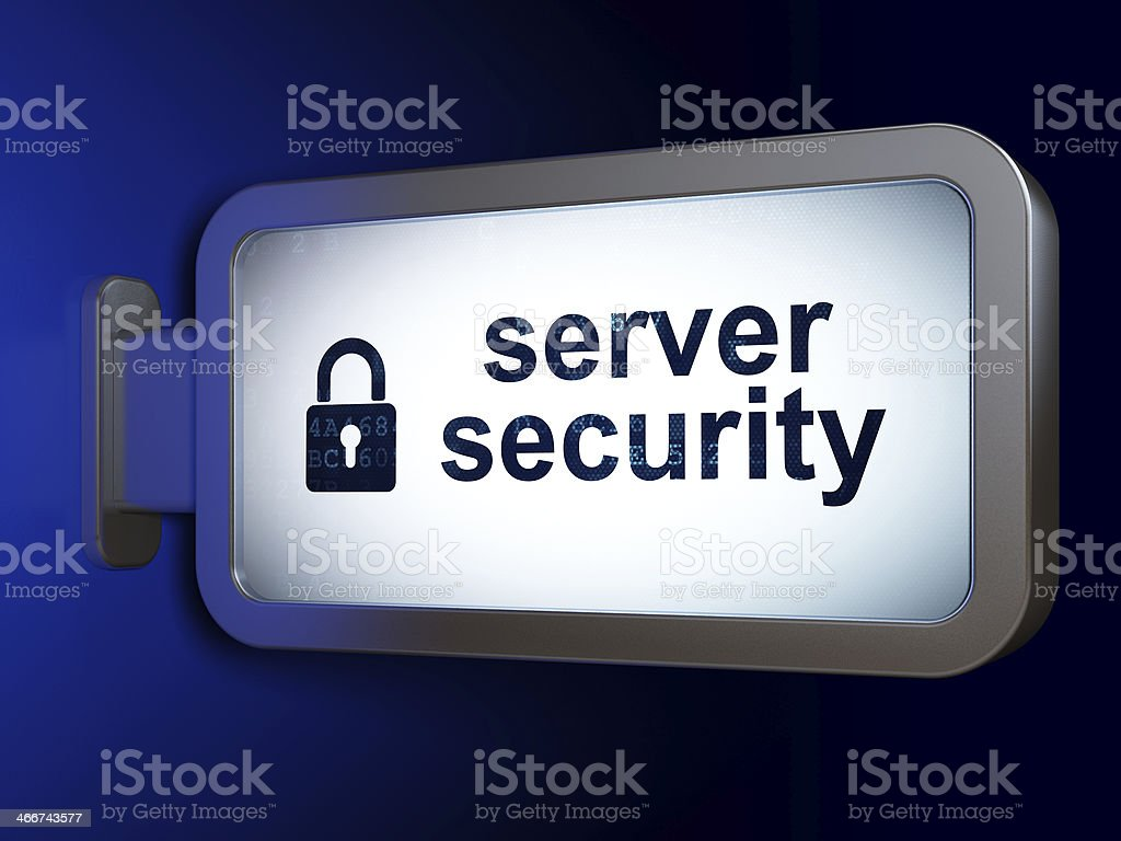 Server Security and Closed Padlock on billboard background royalty-free stock photo