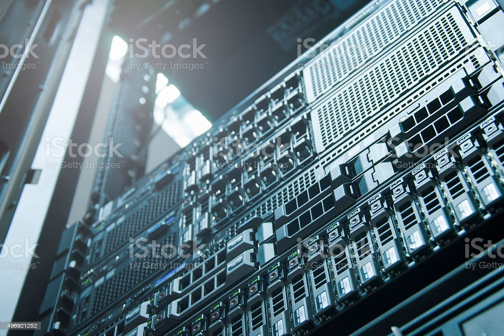 Server technology in datacenter from bottom view stock photo