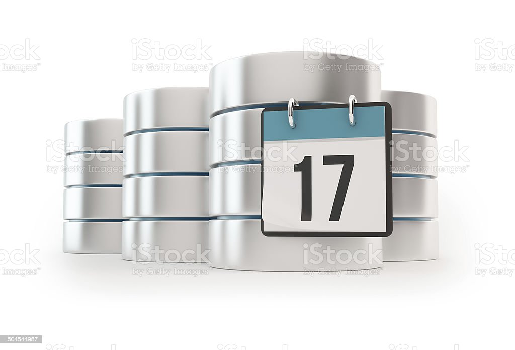 3D Server with calendar - Data base concept royalty-free stock photo
