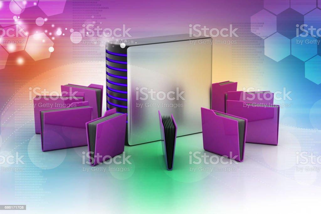 Server with file folder stock photo