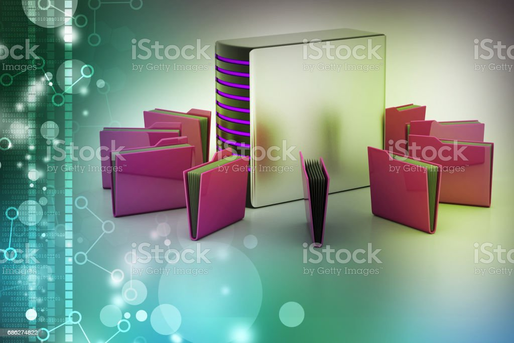 Server with file folder stock photo