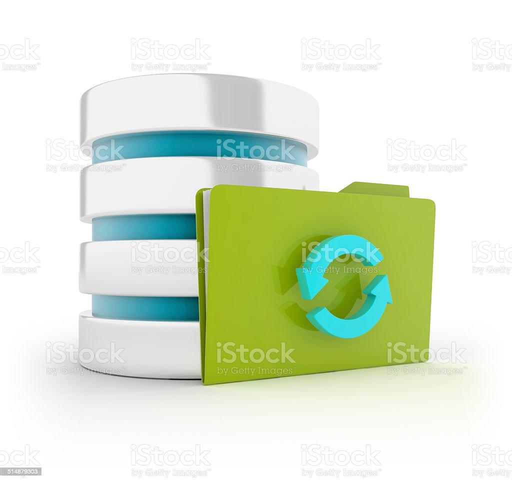 Server with Folder - cycle symbol stock photo
