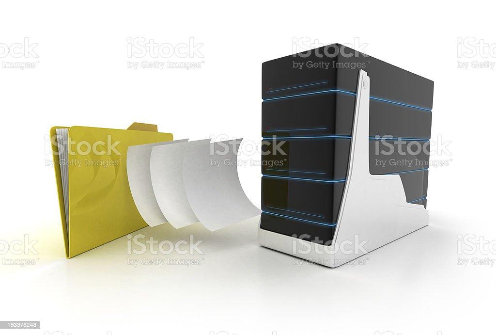 Server with folder stock photo