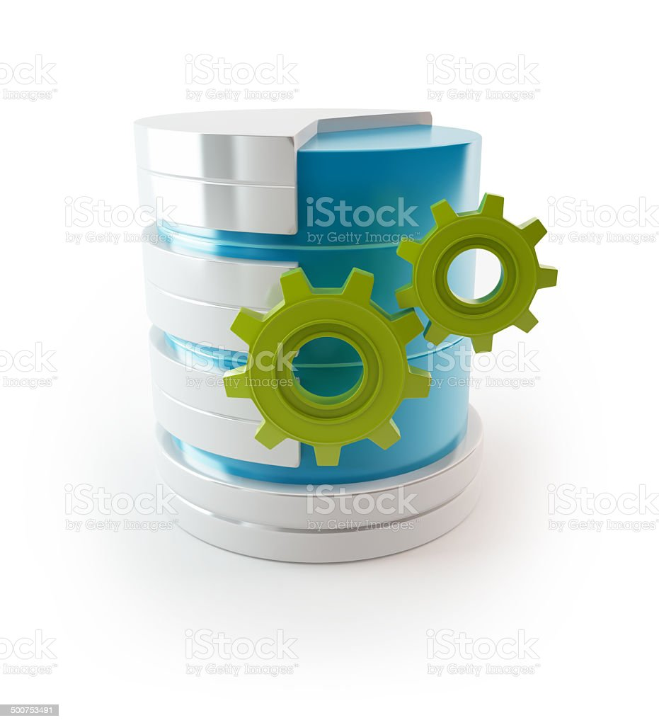 3D Server with gears - Data base stock photo