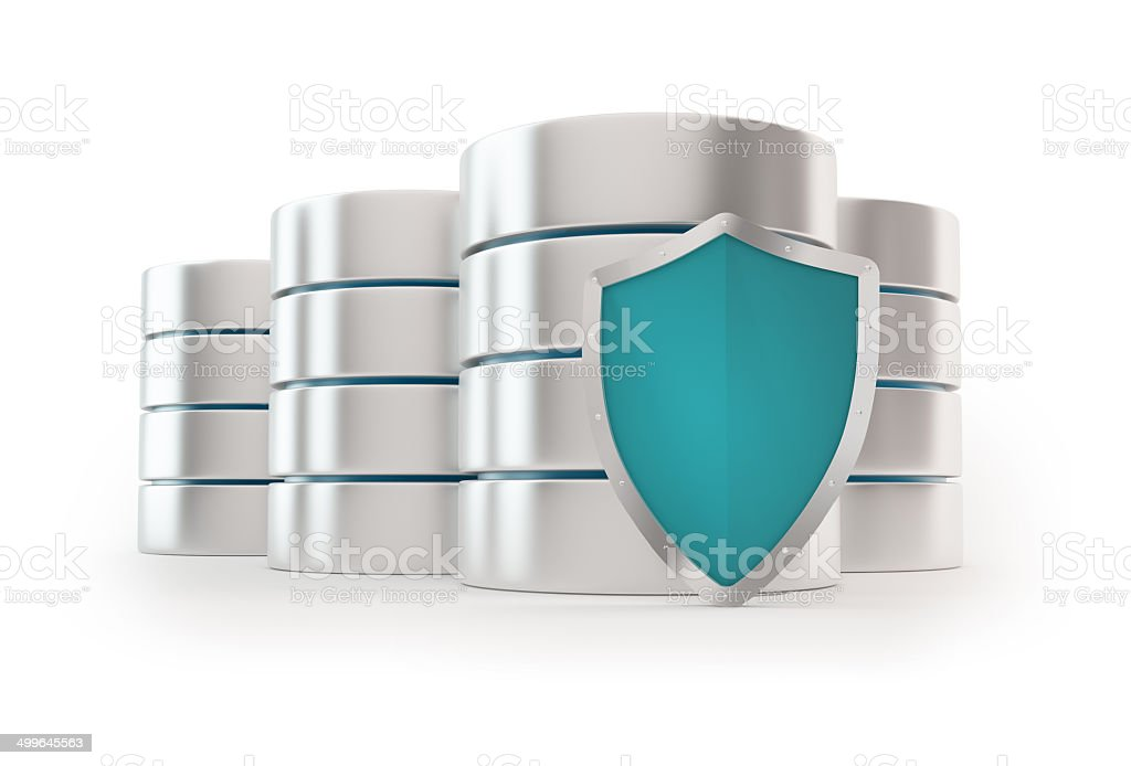 3D Server with shield - Data base concept stock photo