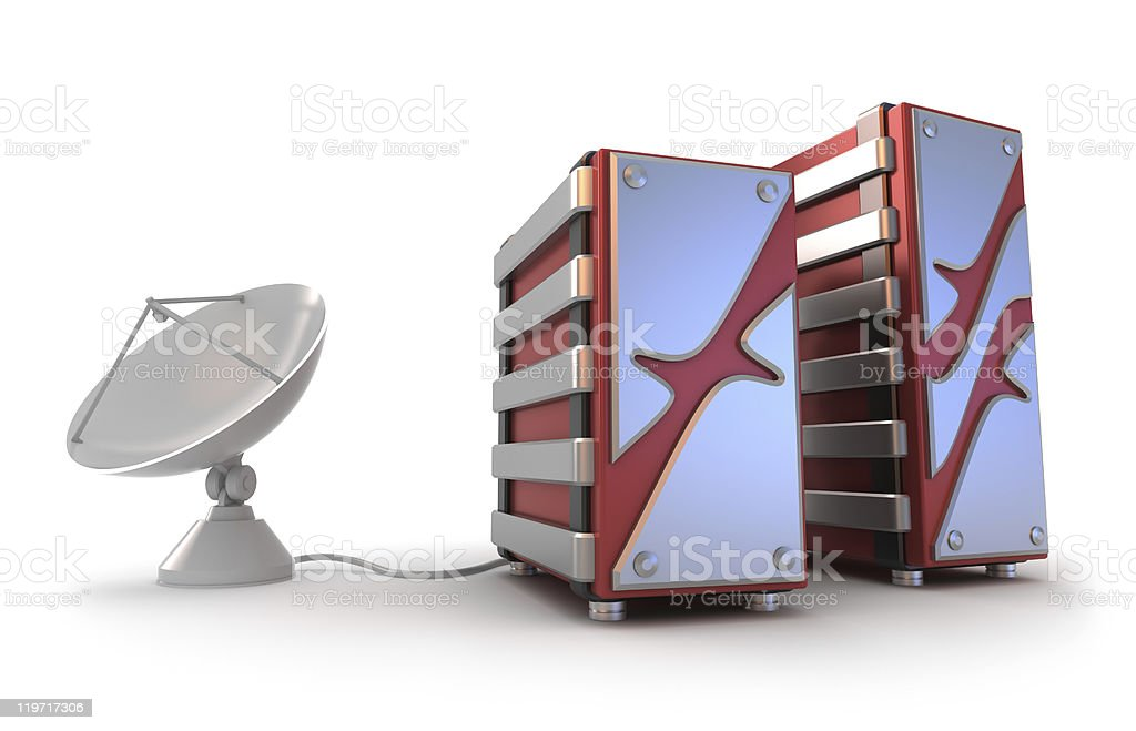 Servers and satellite antenna stock photo