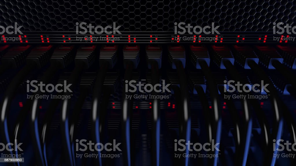Servers, flashing red lights and connectors. CGI stock photo