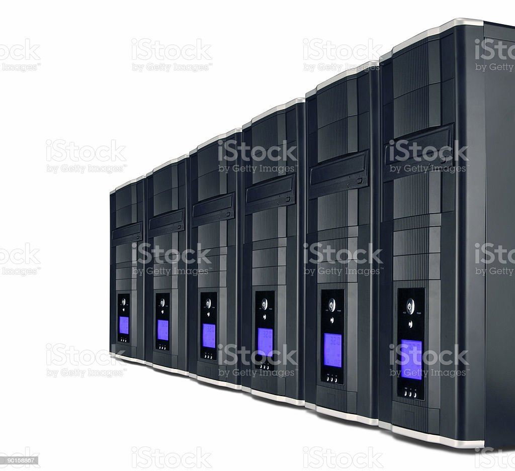 PC servers in a row royalty-free stock photo