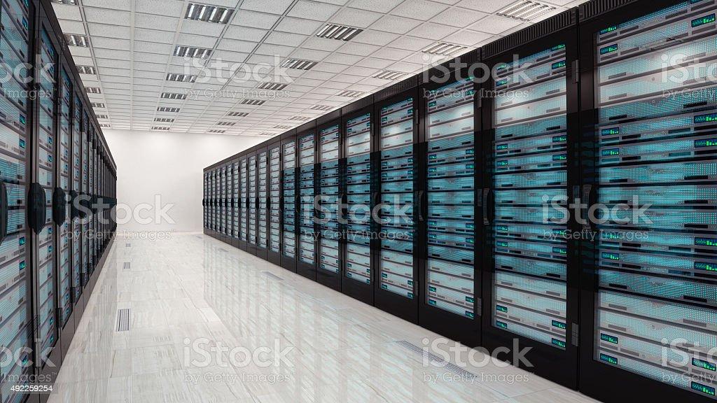Servers in server room stock photo