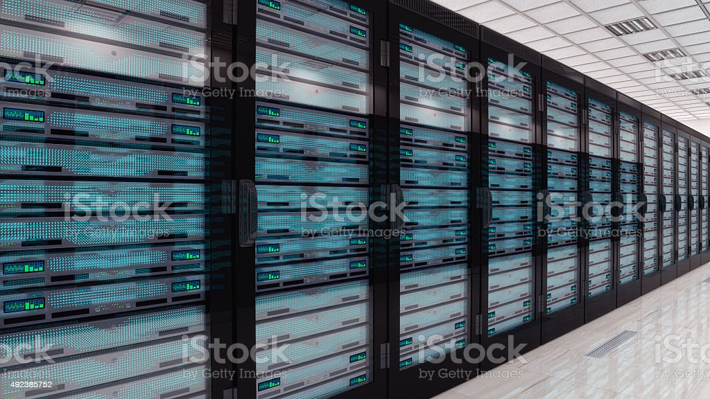 Servers in server room stock photo